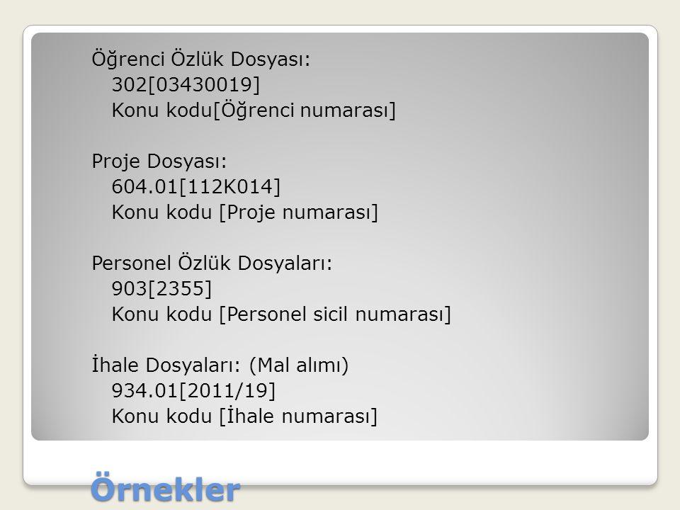 Öğrenci Özlük Dosyası: 302[03430019] Konu kodu[Öğrenci numarası] Proje Dosyası: 604.01[112K014] Konu kodu [Proje numarası] Personel Özlük Dosyaları: 903[2355] Konu kodu [Personel sicil numarası] İhale Dosyaları: (Mal alımı) 934.01[2011/19] Konu kodu [İhale numarası]